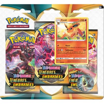 Pokémon - Boosters en Français - Tripack 3 Boosters - EB03 - Épée et Bouclier 3 Ténèbres Embrasées - Pyroli