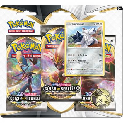 Pokémon - Boosters en Français - Tripack 3 Boosters - EB02 - Épée et Bouclier 2 Clash des Rebelles - Duralugon