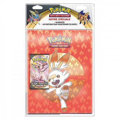 Pokémon - Pack cahier range-cartes Flambino + Booster EB02 Clash des Rebelles