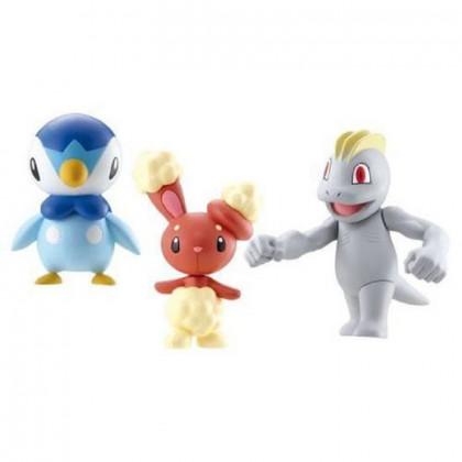 Pokémon - Pack 3 Figurines Diamant & Perle (Tiplouf, Machoc, Laporeille) Bandai